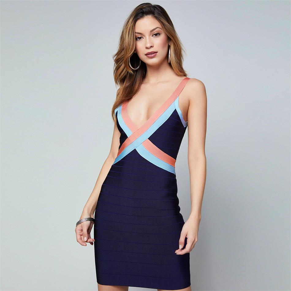 Patchwork Bandage Dresses 2018 Fashion Spaghetti Strap Above Knee Sleeveless Deep V Backless Sexy Club Evening