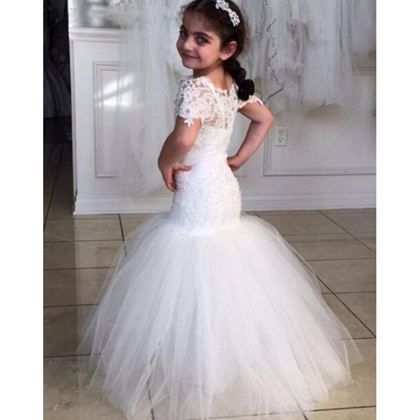 Vestido De Daminha 2016   Flower     Girl     Dress   Floor Length White Ivory Tulle Lace Short Sleeve Lace Mermaid   Flower     Girl     Dress