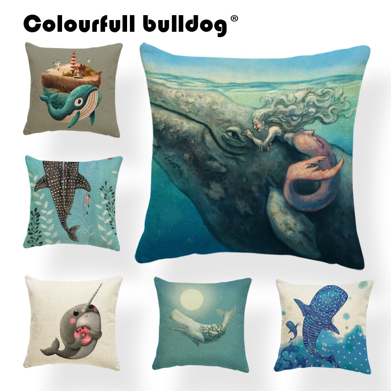 Cartoon Whale Shark Throw Pillows Narwhal Mermaid Butterfly Cushion Cover Seaweed Lighthouse 43*43cm Living Room Sofa Decoration