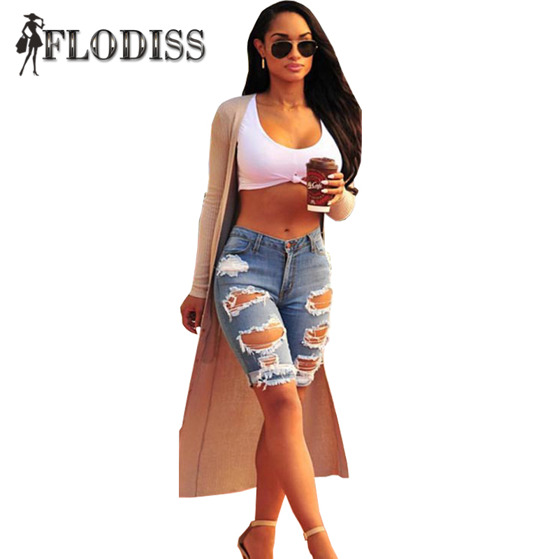 2017 NEW Europe Style Half Ripped Jeans High Waist Personality Fashion Street Hole Stretch Pants Slim Torn Femme Denim Shorts