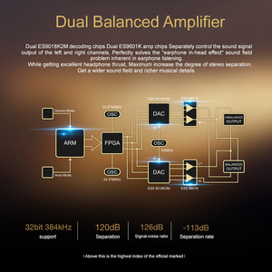 Image 3 - HIDIZS DH1000 Dual Amplificatore Bilanciato 2.5/3.5 millimetri jack per cuffie supporto PCM 24 Bit/192kHz nativo DSD64/128 Hi Res audio