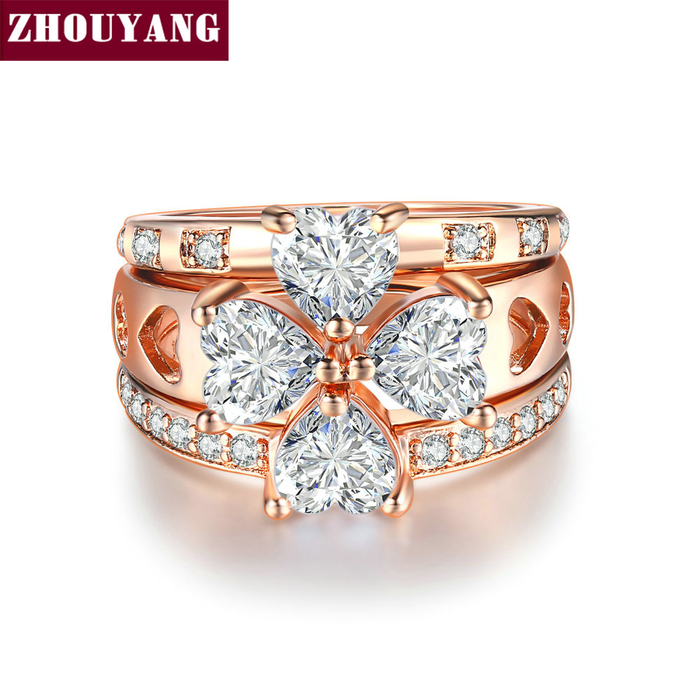 цена на ZHOUYANG Luxury Ring Sets For Women Sweet heart Wedding Lucky Clover Cubic Zirconia Rose Gold Color 3 PCS Fashion Jewelry R673
