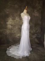 Fashionable Sexy Open Back vestido de noiva Cheap 2017 Beach Chiffon Wedding Dresses Lace Applique Beaded In Stock White
