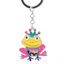 Bonsny Frog Enamel Alloy Key Chain For Women Girl Decorative Keychain Key Ring 2016 new Charm Pendant Jewelry Aceessories(China)