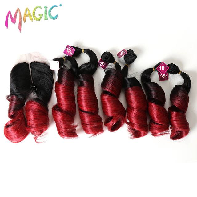 Magic Loose Wave Synthetic Hair Weave With Closure Ombre Wavy Hair