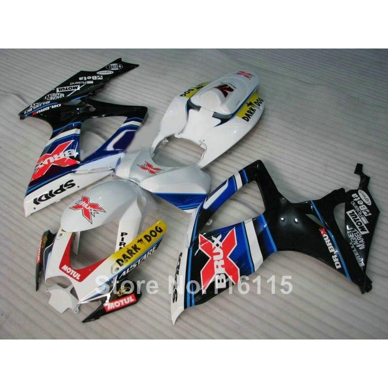 Injection mold fairing kit for SUZUKI GSXR 600 750 K6 K7 2006 2007 GSXR600 GSXR750 06 07 white red BRUX fairings set A494