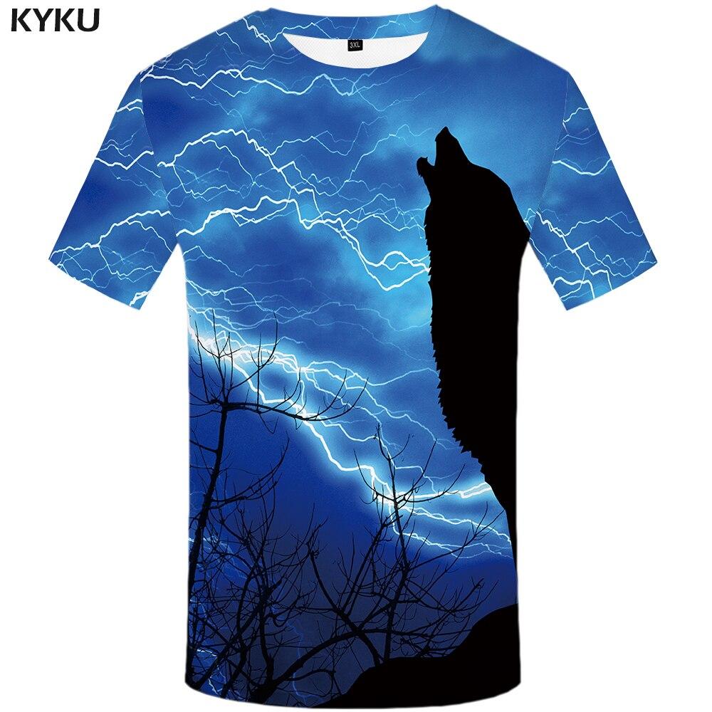 KYKU Marque Loup T-shirt Foudre Tops Bleu T-shirt Vêtements Femmes T shirt Femmes t-shirts Drôles Rock Japonais 2017