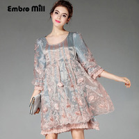 Dress spring autumn 2017 Chinese style vintage royal embroidery plus size loose dress American European fashion runway dresses
