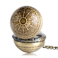 Vintage Pocket Watch Antique Quartz Modern Retro Web Pattern Ball Shape  with Wing Full Hunter Men Chain Women Necklace Pendant