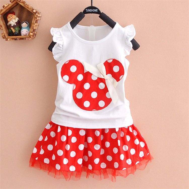New Girls Mickey Minnie Dress Clothing Sets Kids Baby Fashion Cotton Short Sleeve T-shirt Organza Skirts Summer Girls Clothes ...