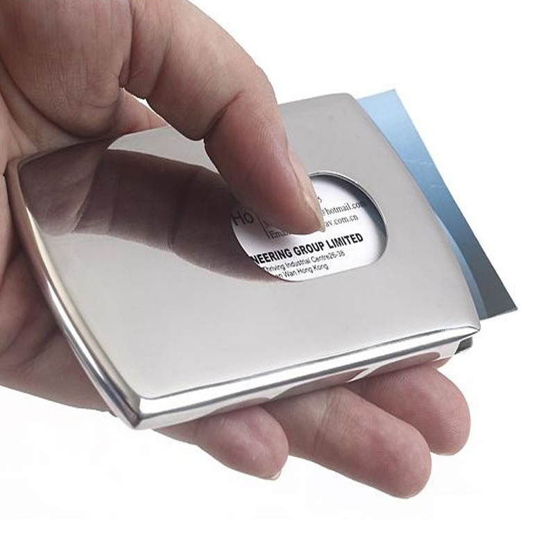 High-Grade Stainless Steel Business Name Card Holder Cover Solid Metal Wallet Box Business Card Holder Card Case Kaart Houder high quality metal business card and metal magnetic card supply