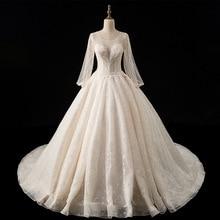 Luxury Champagne Wedding Dresses 2019 Ball Gown Princess Lace Wedding Gowns Plus Size Bridal Dress Dubai Arabic Vestido De Noiva стоимость