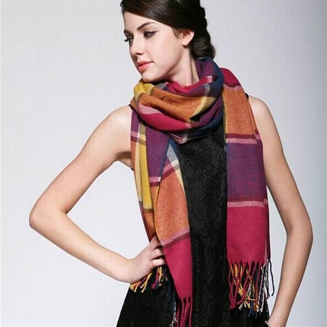RUNMEIFA Wool Winter Warm Women Scarf Plaid Thick Blanket Shawls Wraps Scarves