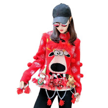 09673a40a0 2017 Cute Womens Christmas Sweater Snowflake Female 2017 Winter 3D Doll  Cartoon Knitting Thicker Sweater Oversize Pullover Nov04