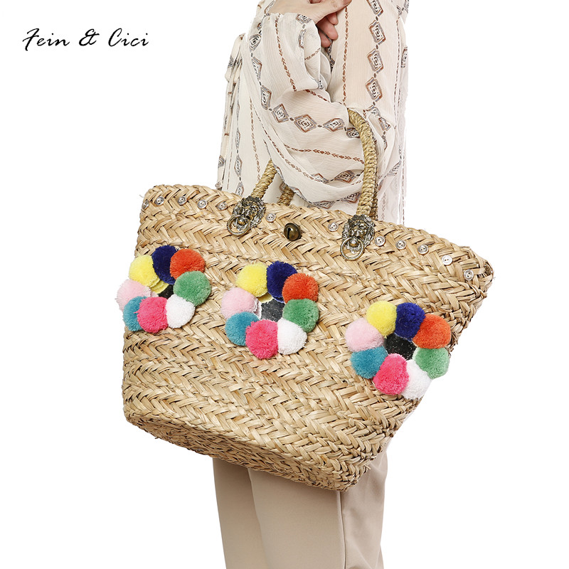 beach bag straw basket totes bag large capacity big summer bags with pom pom bell women natural handbag 2017 new high quality straw clutch bag with pom pom