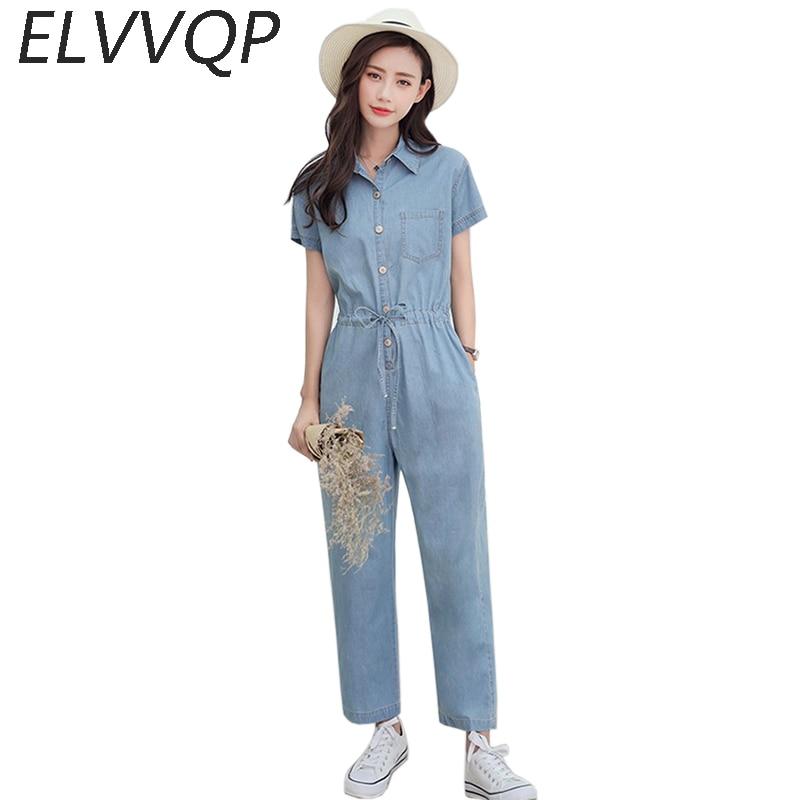 e65c157ebf84 Summer Loose Jumpsuits Jeans Women Fashion Full Length Short Sleeve Cowboy  Style Casual Tencel Denim Jumpsuit Girls LF494