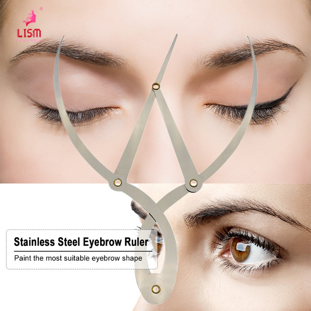 Stainless Steel Eyebrow Ruler Permanent Makeup Shaper Grooming Stencil Eyebrow Embroidery Tattoo DIY Design Calipers Stencil 5