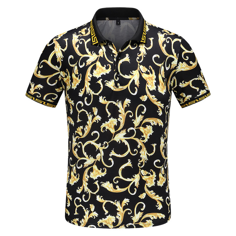 High Quality New Novelty 2019 Men luxury Flowers Fashion   Polo   Shirts Shirt Hip Hop Skateboard Cotton   Polos   Top Tee #F78