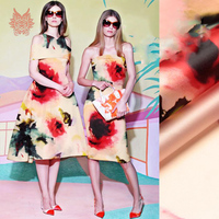 Designer American Style Floral Ink Print 100 Silk Organza Fabric For Dress Pure Silk Fabric For