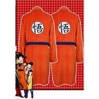 Adult Bathrobe Dragon Ball Cosplay Son Goku Costume man women Bath Robe Sleepwear Pattern Plush Robe Women Men Pajamas Cartoon