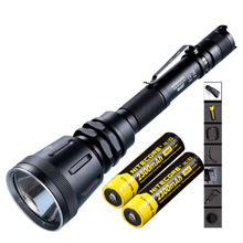Promo offer Multitask Rechargeable Flashlight NITECORE MH40GT max.1000LM beam distance 803M Tactical torch + 2pcs 18650 2300mAh batteries