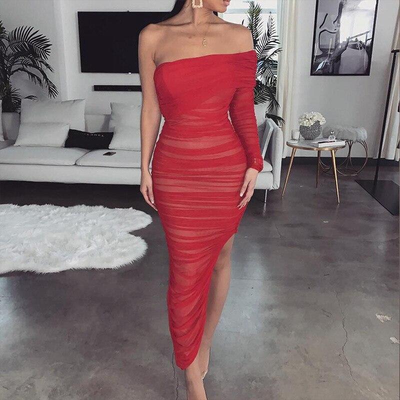 One Shoulder Sexy Bandage Dress Women Strapless Long Sleeve Slim Elastic Bodycon Party Dresses Vestidos