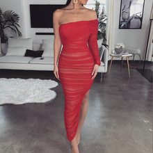 One Shoulder Sexy Bandage Dress Women Strapless Long Sleeve Slim Elastic Bodycon Party Dresses Vestidos