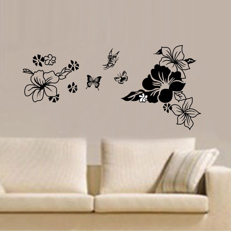 black flowers butterflie vinyl wall stickers home decor art decals design wallpaper sofa house decoration adesivo