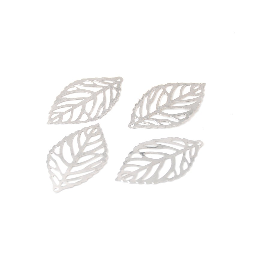 Free shipping 100Pcs Silver Tone Filigree Leaf Metal