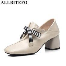 ALLBITEFO EURO tamaño 34-43 natural suave de cuero genuino de las mujeres  zapatos de tacón chicas cuadrado del dedo del pie de o. 7e46d93ab1cd