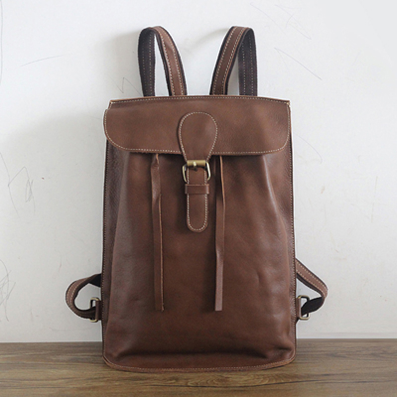 ФОТО hand made vintage genuine Leather backpacks women shoulder bag female Korean  wild school bag leisure bag ladies travel backpack