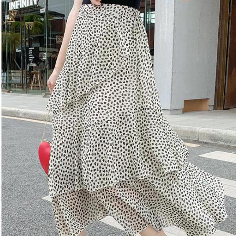 Zuolunouba Summer Women Fashion Skirt Irregular Harajuku Flounced Dot Chiffon Skirt High Waist Slim Long Skirt Female