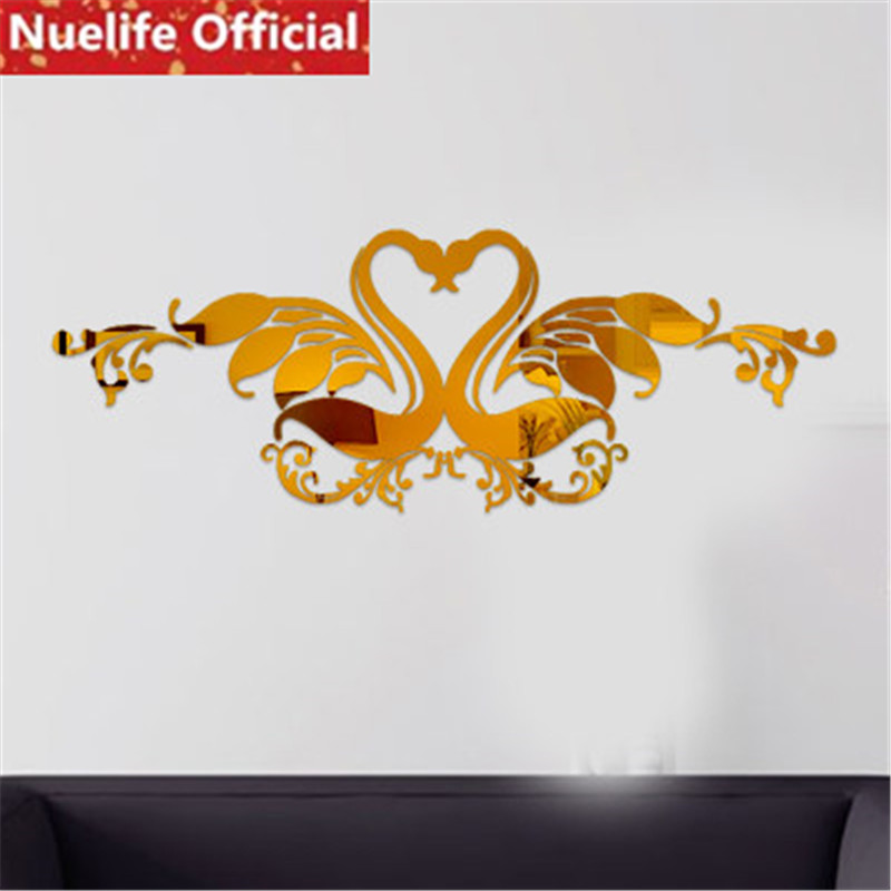2 pcs swan oiseau conception 3D acrylique miroir stickers muraux salle de mariage salon chambre fond décoration stickers muraux N4