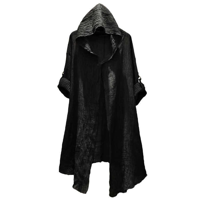 Lino Sottili degli uomini del cappotto Ttrench coat steampunk uomini misterioso Spolverino Uomini A Manica Lunga Con Cappuccio giacca Cardigan di Modo Camicette stygian
