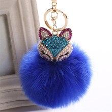 Fancy&Fantasy New Rabbit 8cm Fur Ball Keychain Fox Head Inlay Pearl Rhinestone Car Key Chain Handbag Key Ring Delicate
