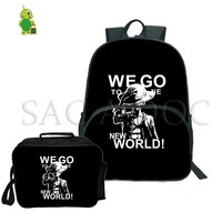One Piece 2Pcs/Sets Backpack Laptop Backpack for Teenagers School Backpack Monkey D. Luffy Law Travel Rucksack with Cooler Bag