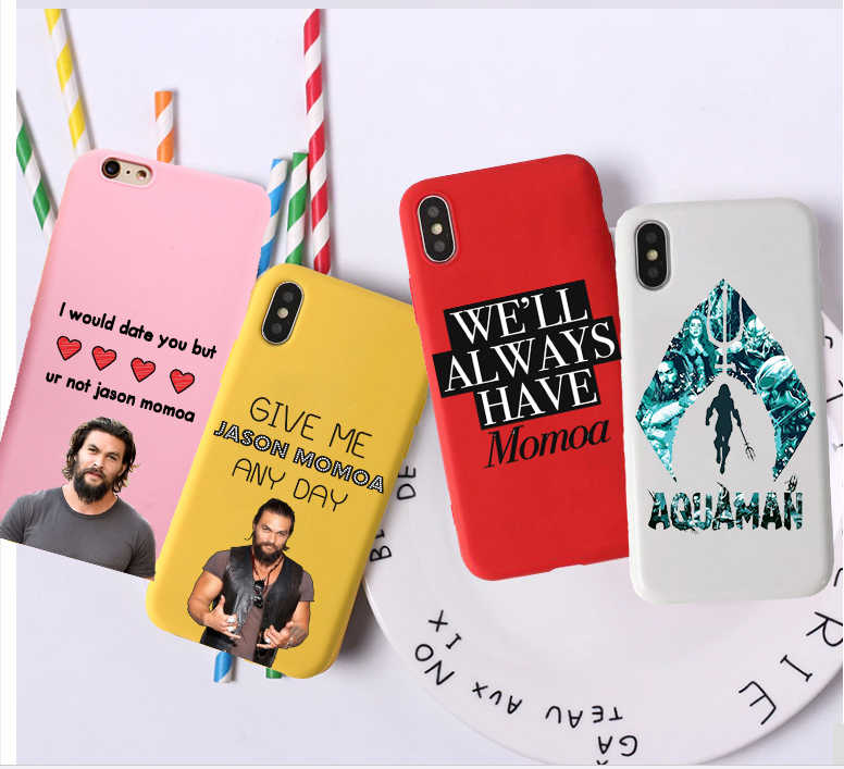 American movie Aquaman Candy Color TPU Case phone For iphoneX 7 8 XS XR XSMAX Pink Red Yellow purple White  Jason Momoa Cover