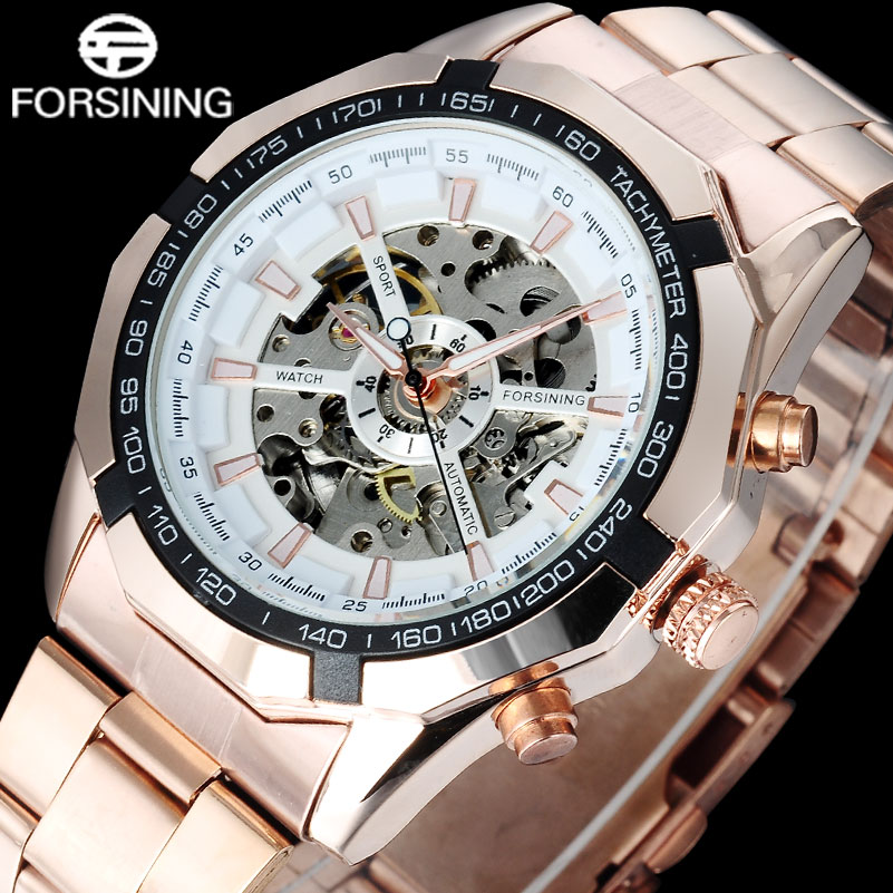 FORSINING Brand Luxury Skeleton Mechanical Watch Gold Stainless Steel Band Automatic Watches Male Dress Clock Relogio Masculino forsining 2016 popular brand men watches simple automatic mechanical watch skeleton white dials gold case stainless steel band