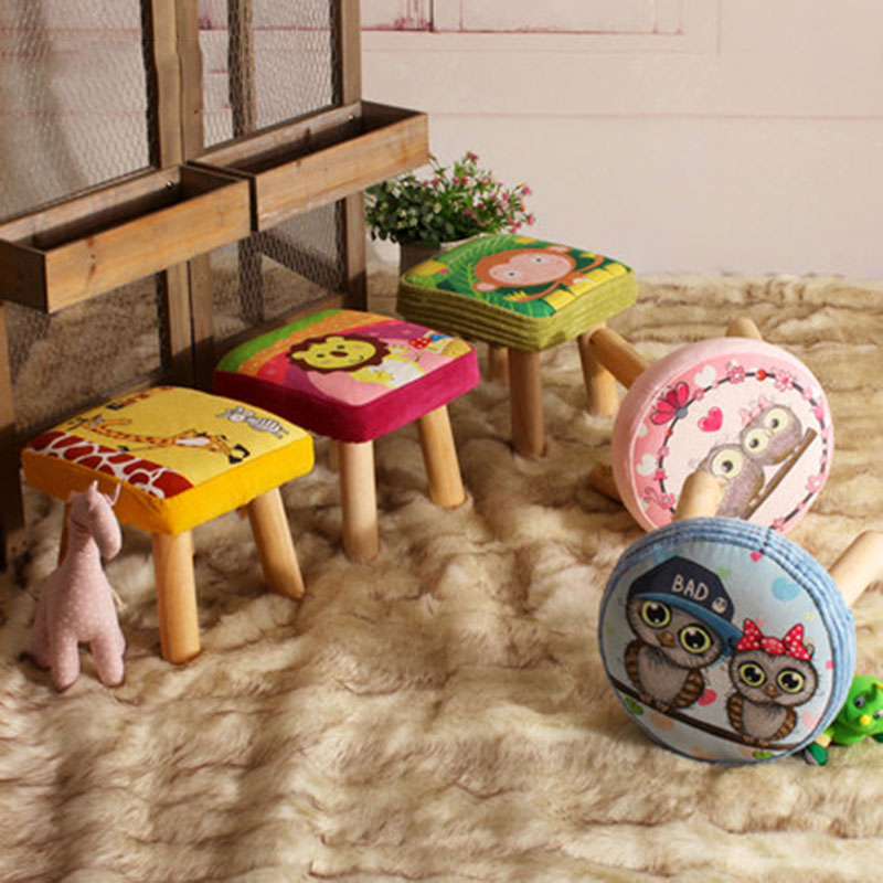 17 Styles Shoe Stool Solid Wood Fabric Creative Children Small Chair Sofa Round Stool Small Wooden Bench 30*30*27CM /32*32*27CM modern fabric upholstered rectangle living room ottoman stool with natural wooden legs home small bench wood foot stool chair