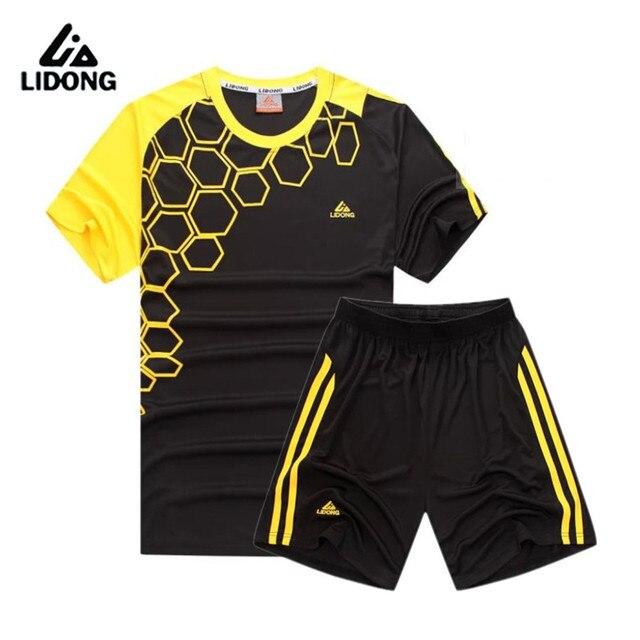 LIDONG nuevos niños de fútbol conjuntos Jersey uniformes Futbol entrenamiento de poliéster transpirable manga corta Camisetas