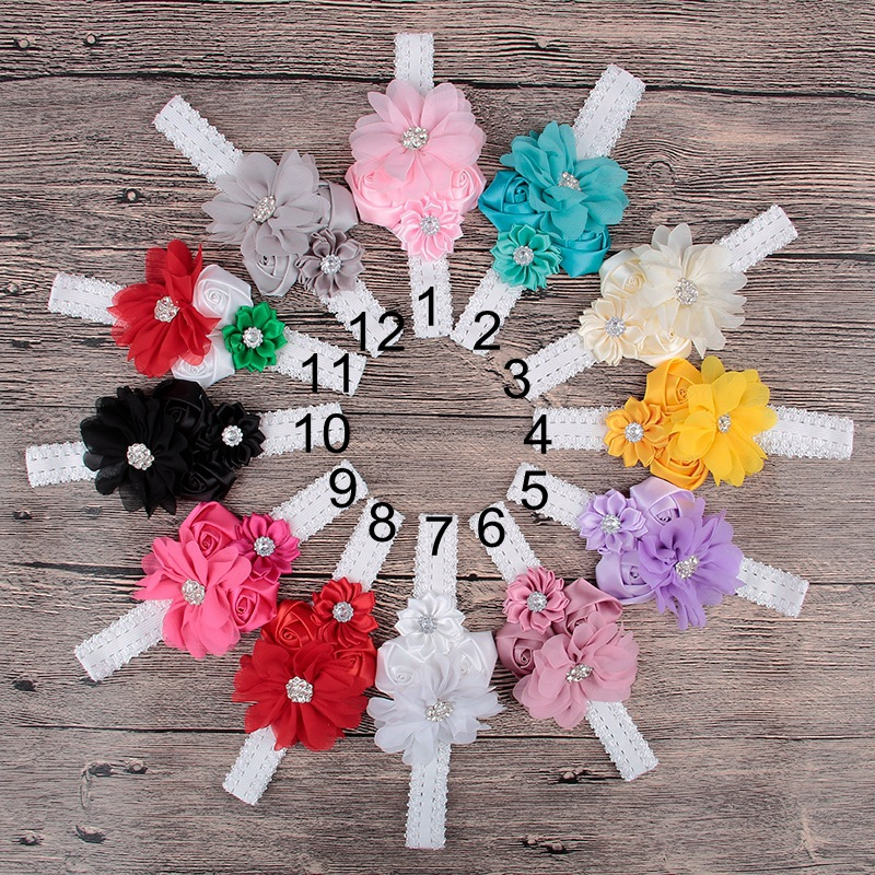 20pcs lot Lace Headbands For Girls Headwear Satin Rose Ribbon Flowers Hair Accessories