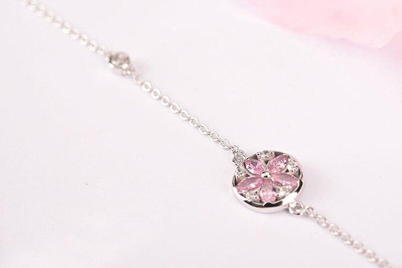 Silver Cherry Blossom Bracelet With Zircon Sakura Bangle Women 925 Sterling Jewelry 7