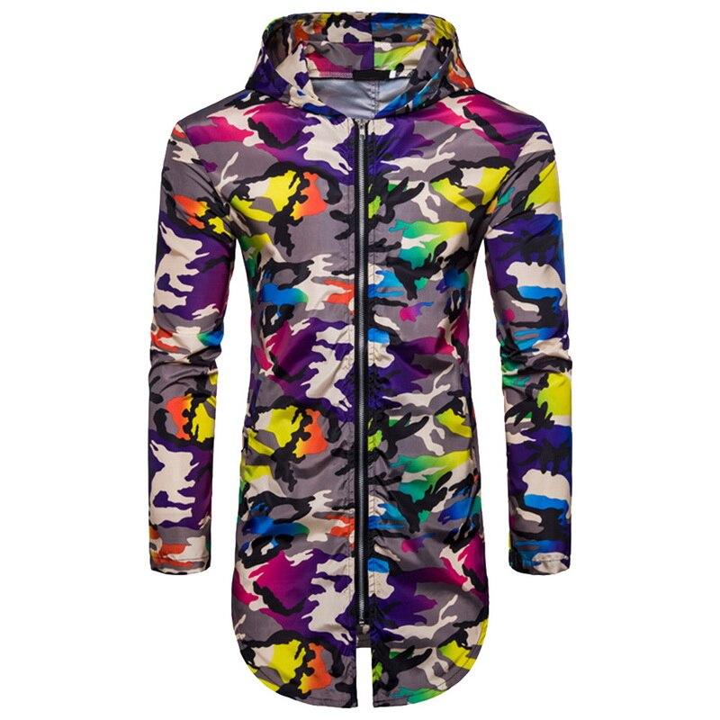 e1ddd48b6340 2018 новых печатных работает пальто Для мужчин свободная куртка с капюшоном  камуфляжные длинные спортивные тренировки пальто