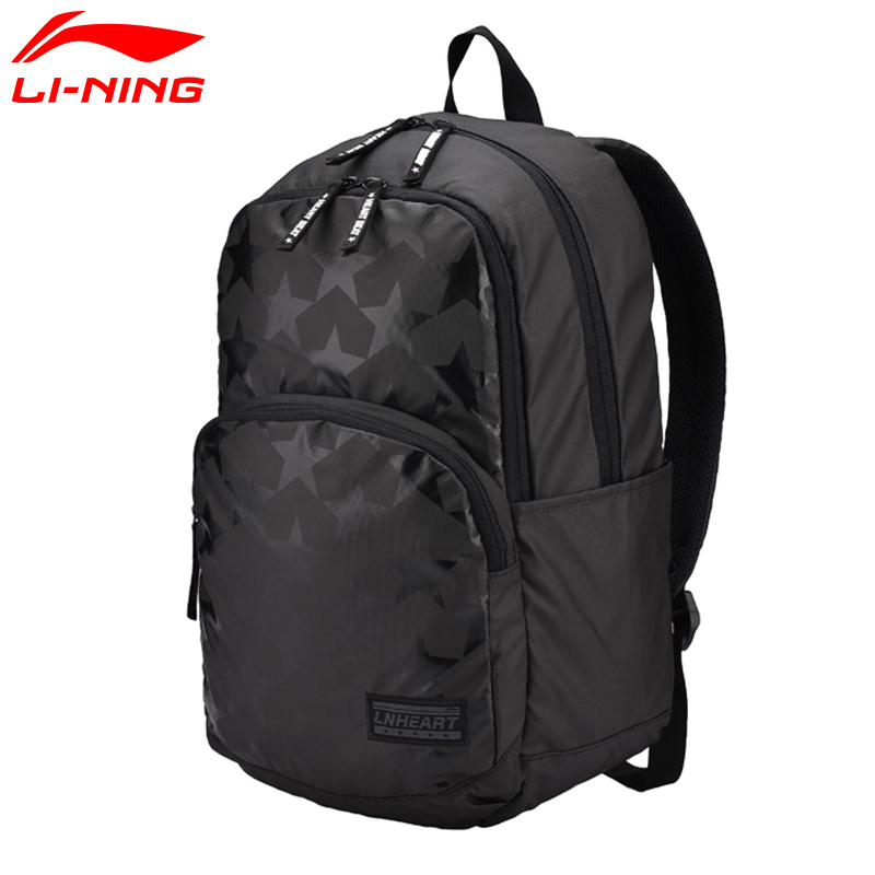 Li-Ning Unisex Training Backpack Polyester Classic Leisure Black LiNing Li Ning Men&Women Sports Bag ABSM032 BBF222