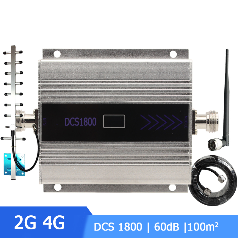 2G 4G Signal Booster DCS 1800 Mobile Phone Signal Repeater Cell Phone Cellular Amplifier For 4G Network With Whip+Yagi Antenna -