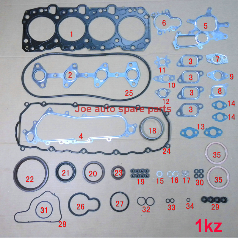 1KZ 1KZT 1KZTE Engine Full gasket set kit for Toyota 4 Runner Land cruiser/90/Prado Hi lux 2982cc 8v 3.0 TD 04111 67025