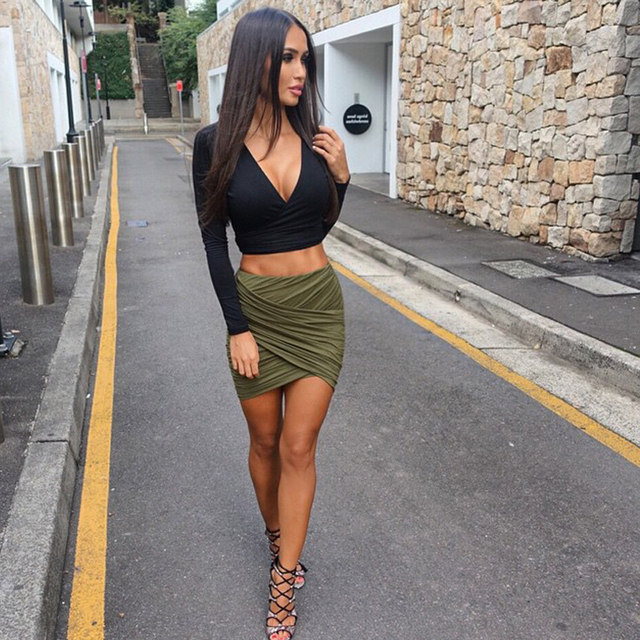 5002b9d19213f5 2015 Summer Style Women Skirt Black Gray Bandage Mini Bodycon Short High  Waist Skirt Army Green Pencil Skirt American Apparel
