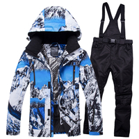 2018RIVIYELE NEW Super Warm Men Ski Suit Waterproof Breathable Windproof Outdoor Sport Wear Skiing Snowboard Jacket+Pant