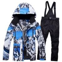 2018RIVIYELE NEW Super Warm Men Ski Suit Waterproof Breathable Windproof Outdoor Sport Wear Skiing Snowboard Jacket+Pant