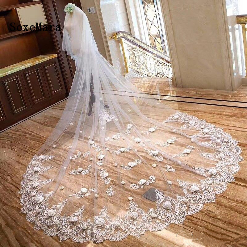 White Ivory Wedding Veils 3 Meters Long Cathedral Length Lace Applique Soft Netting Bridal Veil With Comb High Quality
